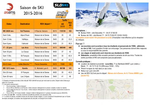 Saison de SKI 2015-2016